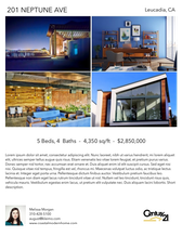 Printable PDF flyer of Modern Coastal Home. 4 Photos & Short Description