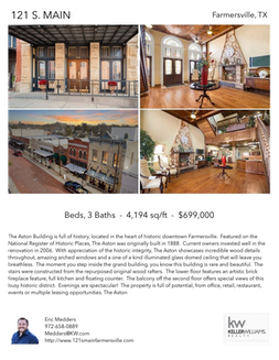 Printable PDF flyer of 121 S. Main. 4 Photos & Short Description