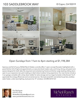 Printable PDF flyer of 103 Saddlebrook Way. 4 Photos & Short Description