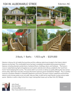 Printable PDF flyer of 104 W. Albemarle Street. 4 Photos & Short Description
