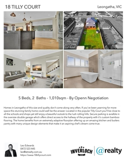 Printable PDF flyer of 18 Tilly Court. 4 Photos & Short Description