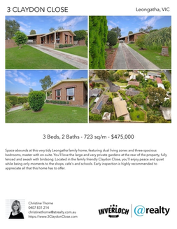 Printable PDF flyer of 3 Claydon Close. 4 Photos & Short Description