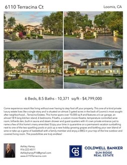 Printable PDF flyer of 6110 Terracina Ct, Loomis, CA 95650. 4 Photos & Short Description
