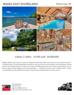 Printable PDF flyer of W6683 East Shoreland Road. 4 Photos & Short Description