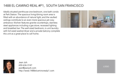 Printable PDF flyer of 1488 El Camino Real #P1. Basic Postcard