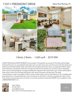 Printable PDF flyer of 11011 Freemont Drive. 4 Photos & Short Description