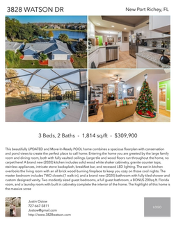 Printable PDF flyer of 3828 Watson Dr. 4 Photos & Short Description