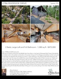Printable PDF flyer of 2786 Riverside Drive, Raymond / Riverside Area. 4 Photos & Short Description