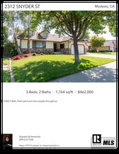 Printable PDF flyer of 2312 Snyder St. Main Photo & Short Description