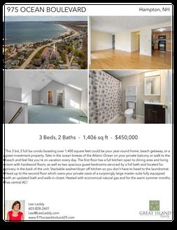 Printable PDF flyer of 975 Ocean Boulevard, Unit 29. 4 Photos & Short Description