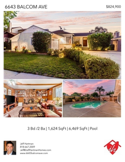 Printable PDF flyer of 6643 Balcom Ave. Reseda, CA 91335. Photos & Basic Info