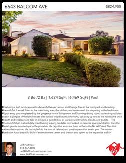 Printable PDF flyer of 6643 Balcom Ave. Reseda, CA 91335. Main Photo & Short Description